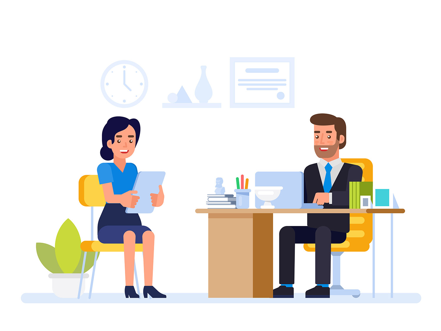 HR manager meeting job applicant in director office.